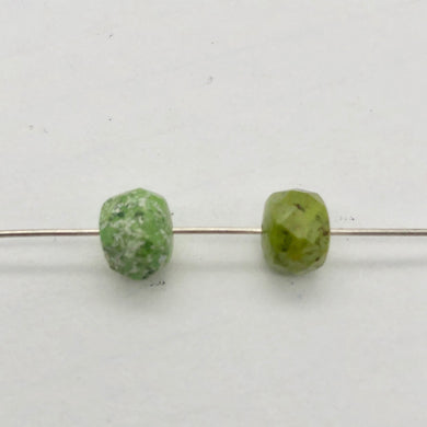 Natural Gaspeite Faceted Roundel Beads | 7x5mm to 7x3mm Green| Roundel | 2 Bds| - PremiumBead Primary Image 1