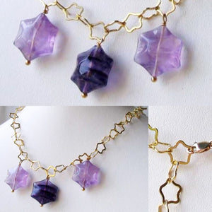 Natural Fluorite & 22K Vermeil Star 18 inch Necklace 209245Fl - PremiumBead Alternate Image 9