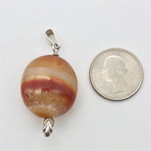 "Natural Carnelian Agate Oval & Sterling Silver Pendant | 28x24.5x16mm | 2"" Long - PremiumBead Alternate Image 6"