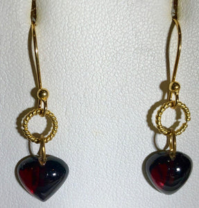 Heart-Shaped Garnet in Simple Elegant 22K Vermeil Earrings 310654 - PremiumBead