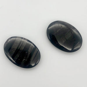 Sexy! Hypersthene Focal Beads |24x18x5mm | Silver -black | Oval | 2 beads |