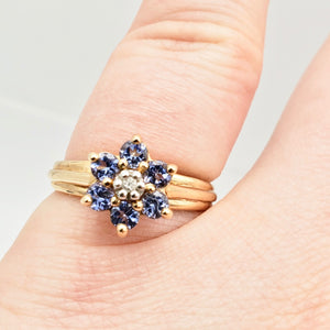 Tanzanite & Diamond Solid 10Kt Yellow Gold Flower Ring Size 7 9982F - PremiumBead Primary Image 1