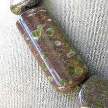 Load image into Gallery viewer, 1 Exotic Peridot Jasper Rectangle Pendant Bead 7040 - PremiumBead