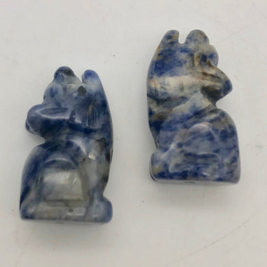Howling New Moon 2 Carved Sodalite Wolf / Coyote Beads | 21x11x8mm | Blue white - PremiumBead