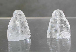 2 Intricately Hand Carved Quartz Buddha Beads | 18.5x16x9.5mm | Clear - PremiumBead