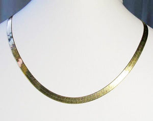 "16"" Vermeil 4mm Flex Herringbone Chain Necklace 10026A - PremiumBead"