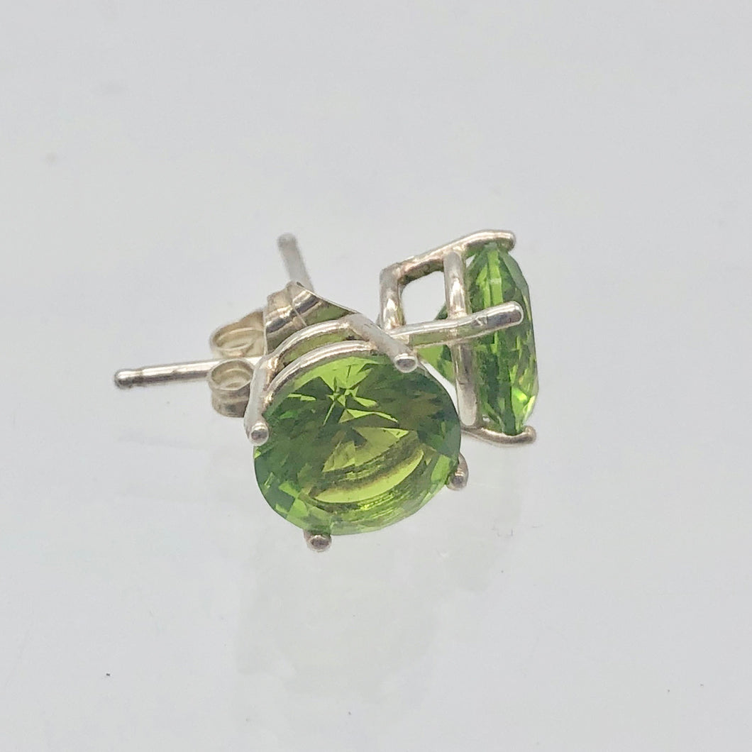 August 7mm Lab Peridot & Sterling Silver Stud Earrings 9780A - PremiumBead