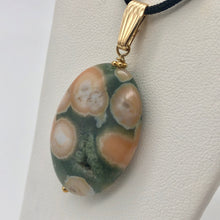Load image into Gallery viewer, Ocean Jasper 32x25mm Oval and 14K gold-filled Pendant 510561B - PremiumBead