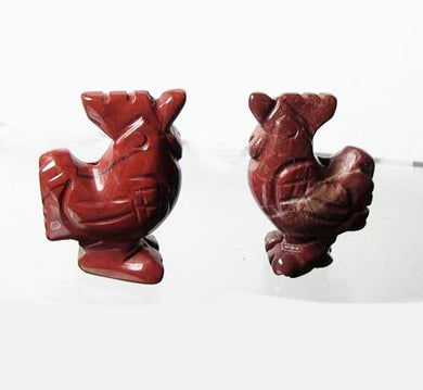 2 Cute Carved Brecciated Jasper Rooster Beads | 21x16x8.5mm | Red - PremiumBead