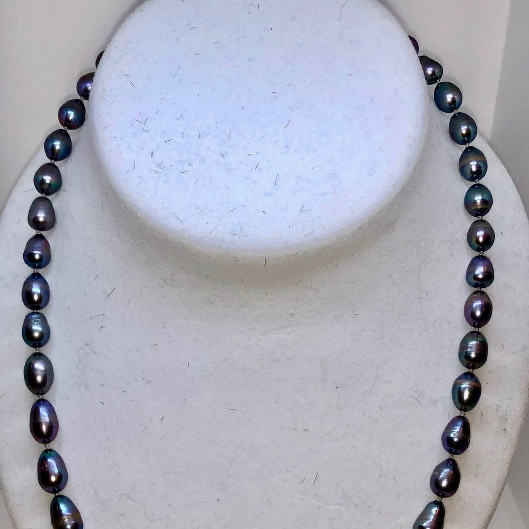 Silver-Grey Gorgeous Freshwater Pearl Sterling Necklace 20 inch 209805 - PremiumBead