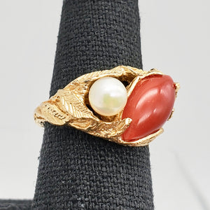 Natural Red Coral & Pearl Carved Solid 14Kt Yellow Gold Ring Size 5.75 9982D - PremiumBead Alternate Image 4