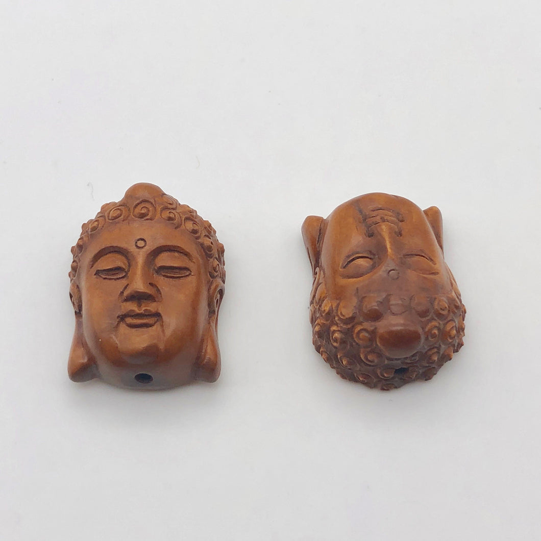 Sacred Boxwood Southeast Asian Buddha Ojime/Netsuke Bead | 24x16x12mm | Brown - PremiumBead