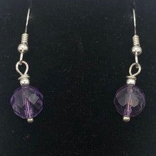 Load image into Gallery viewer, Royal Natural Untreated 8mm Faceted Amethyst Solid Sterling Silver Earrings - PremiumBead Alternate Image 4
