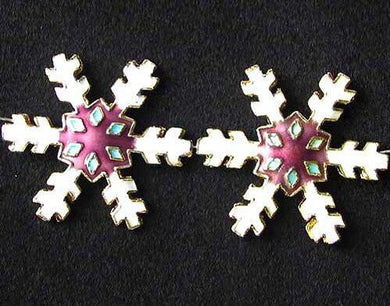 2 White Mulberry Cloisonne 30x27mm Snowflake Focal Beads 8638F - PremiumBead