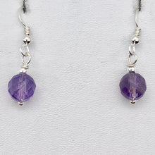 Load image into Gallery viewer, Royal Natural Untreated 8mm Faceted Amethyst Solid Sterling Silver Earrings - PremiumBead Alternate Image 5