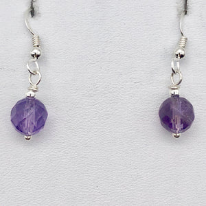 Royal Natural Untreated 8mm Faceted Amethyst Solid Sterling Silver Earrings - PremiumBead Alternate Image 5