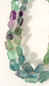 Incredible Artistically Faceted Multi-Hue Fluorite Nugget Bead Strand 109643 - PremiumBead Alternate Image 2