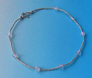 "Hand Made! Pink Glass & Silver 10"" Anklet 10076D - PremiumBead Primary Image 1"