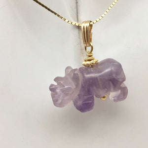 Hand Carved Rhino Amethyst Rhinoceros and 14k Gold Filled Pendant 509275AMLG - PremiumBead Alternate Image 3