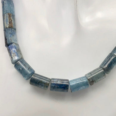 Sparkling Blue Kyanite Tube Bead 16