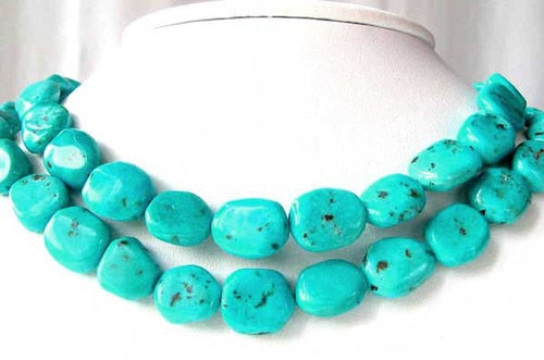 Natural Turquoise Flat, Smooth Nuggety Bead Strand 109352A - PremiumBead