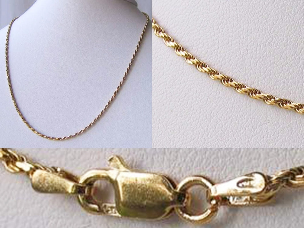Italian Vermeil 1.5mm Rope Chain 16