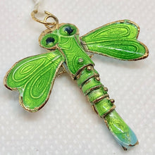 "Load image into Gallery viewer, Spring Green Cloisonne Dragonfly Pendant! 1.5x1.25"" 504232 - PremiumBead Alternate Image 2"