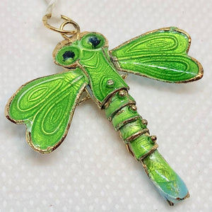 "Spring Green Cloisonne Dragonfly Pendant! 1.5x1.25"" 504232 - PremiumBead"