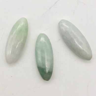 Rare! 3 Carved Natural Burmese Jade 30x11x7mm Beads | 30x11x7mm | multi-Hue - PremiumBead Primary Image 1