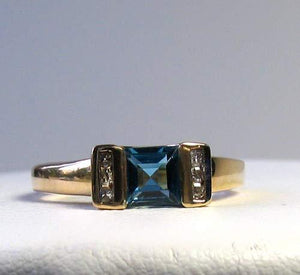 Blue topaz & Diamonds Solid 14Kt Yellow Gold Ring Size 7 9982Aj - PremiumBead Alternate Image 2