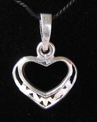 Loving Sterling Silver Heart Charm Pendant 9963E - PremiumBead Primary Image 1