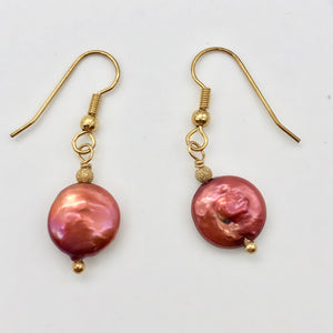 Rusty/Red 12mm Freshwater Pearl and 14k Gold Filled Earrings 307277A - PremiumBead