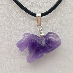 "Adorable Pony Amethyst Horse & Sterling Silver Pendant | 1 1/8"" Long 