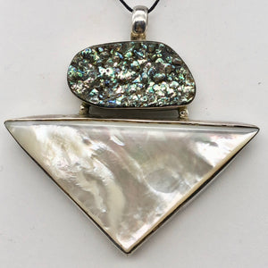 Mother of Pearl & Abalone Shell sterling silver Pendant - Glamorous! 504754 - PremiumBead