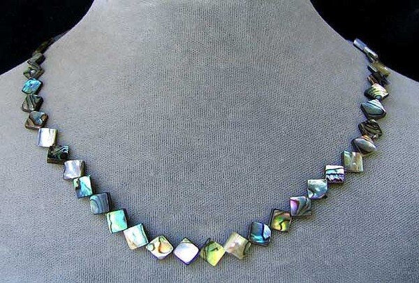 Exciting! Abalone Diagonal Square Bead Strand 105762 - PremiumBead