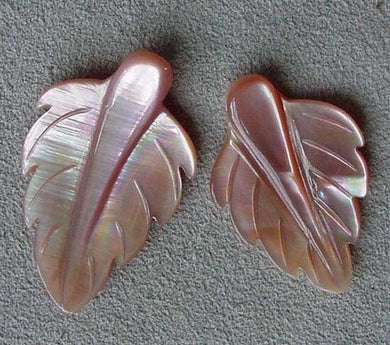 2 Velvety Pink Mussel Shell Leaf Pendant Beads 4326B - PremiumBead Primary Image 1