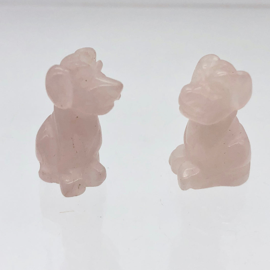 Faithful 2 Rose Quartz Hand Carved Dog Beads | 20x12x10mm | Pink - PremiumBead Primary Image 1