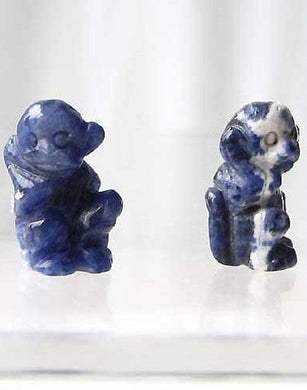 Adorable 2 Carved Sodalite Monkey Beads | 20.5x12x11mm | Blue white - PremiumBead