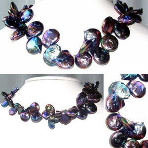 Glam 20-15mm Rainbow Peacock Freshwater Baroque Coin Pearl Strand 108503A - PremiumBead
