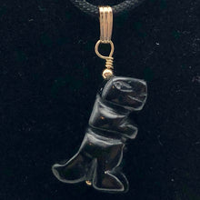 Load image into Gallery viewer, Black Obsidian T- Rex Pendant Necklace|Semi Precious Jewelry| 14k gf Pendant | - PremiumBead