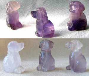 Faithful 2 Natural Amethyst Carved Dog Beads | 22x15x15mm | Purple - PremiumBead