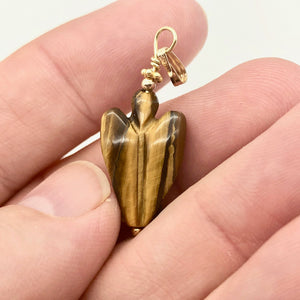"On the Wings of Angels Tigereye 14K Gold Filled 1.5"" Long Pendant 509284TEG - PremiumBead"