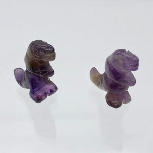 T-Rex Dinosaur 2 Amethyst Tyrannosaurus Rex Beads | 21x18.5x8mm | Purple w/Brown - PremiumBead Alternate Image 2