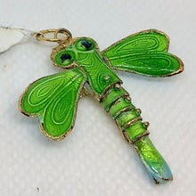 "Load image into Gallery viewer, Spring Green Cloisonne Dragonfly Pendant! 1.5x1.25"" 504232 - PremiumBead Primary Image 1"