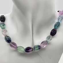 "Load image into Gallery viewer, Rare! Carved 14x10mm Oval Fluorite 13"" Bead Strand! - PremiumBead Alternate Image 5"