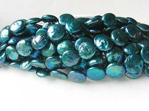 Shimmering Teal Waves 5 (5) Freshwater Coin Pearls 7252 - PremiumBead