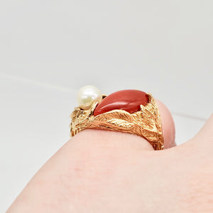 Natural Red Coral & Pearl Carved Solid 14Kt Yellow Gold Ring Size 5.75 9982D - PremiumBead Alternate Image 7