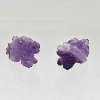 Powerful 2 Amethyst Carved Winged Dragon Beads | 21x14x9mm | Purple - PremiumBead
