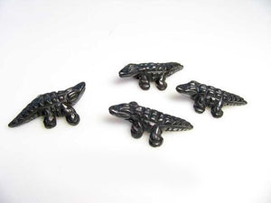Gators 2 Carved Hematite Alligator Beads | 28x14x7mm | Silver black - PremiumBead Alternate Image 2