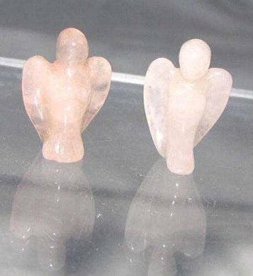 2 Loving Hand Carved Rose Quartz Guardian Angels 9284RQ | 21x14x8mm | Pink - PremiumBead